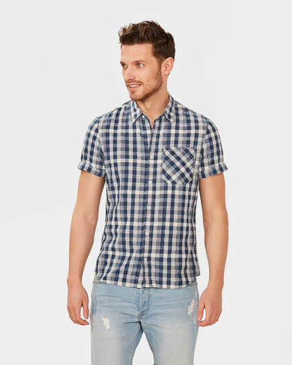 HEREN SLIM FIT CHECKED OVERHEMD Blauw
