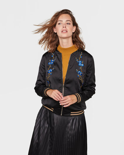 DAMES EMBROIDERY FLOWER BOMBER Zwart