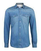 HEREN SLIM FIT DENIM OVERHEMD_HEREN SLIM FIT DENIM OVERHEMD, Blauw