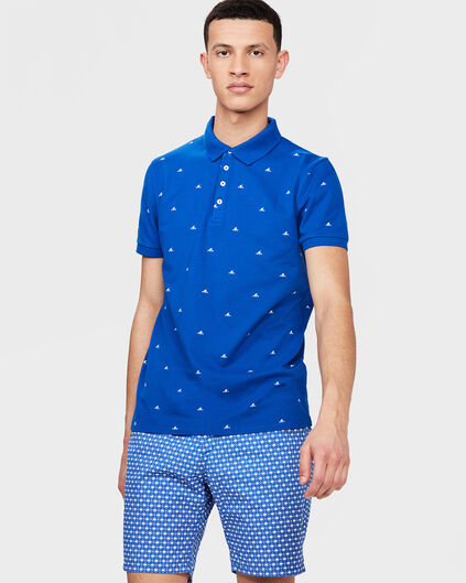 HEREN WAVES PRINT POLOSHIRT Blauw