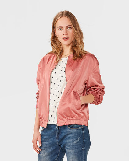 DAMES PINK SATEEN BOMBER JACKET Oudroze