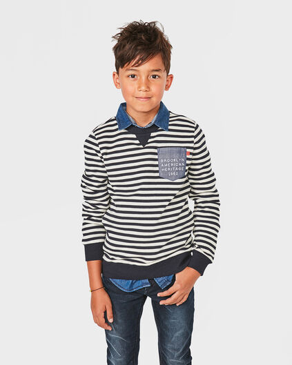 JONGENS ONE POCKET STRIPE SWEATER Donkerblauw