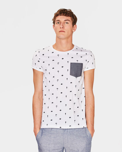 HEREN BEACH PRINT T-SHIRT Wit