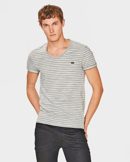 HEREN JACQUARD STRIPE T-SHIRT Marineblauw