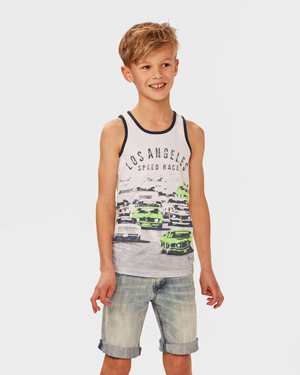 JONGENS RACE CARS SINGLET Wit
