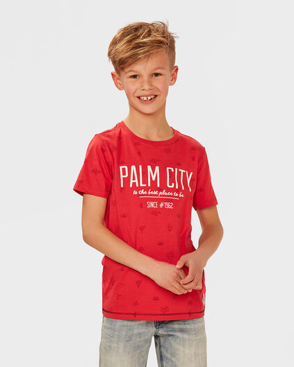 JONGENS  PALM PRINT T-SHIRT Felrood