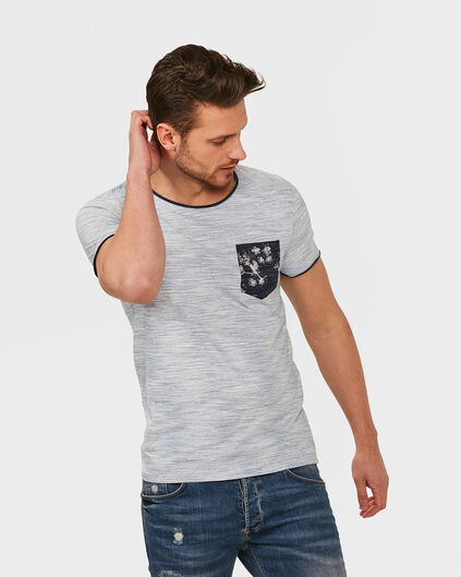HEREN ONE POCKET MELANGE T-SHIRT Gebroken wit