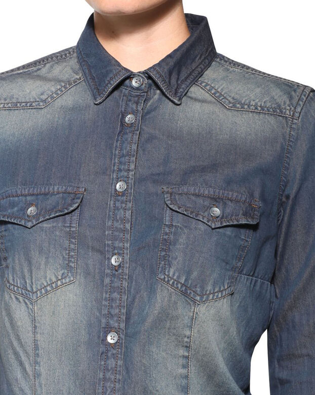 DAMES DENIM BLOUSE Donkerblauw