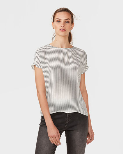DAMES PRINTED STRIPE TOP Gebroken wit