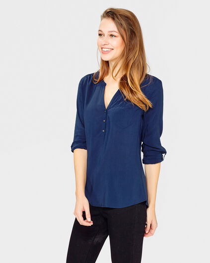 DAMES ROLL-UP BLOUSE Donkerblauw