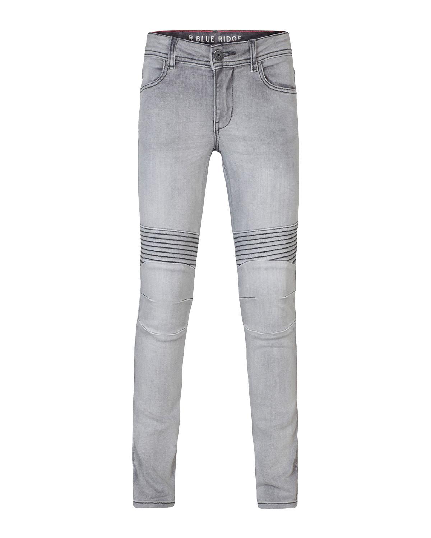 Meisjes super skinny grey denim biker jeans