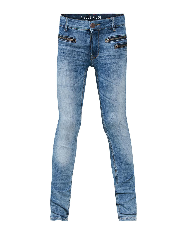 Meisjes super skinny pocket zipper jeans