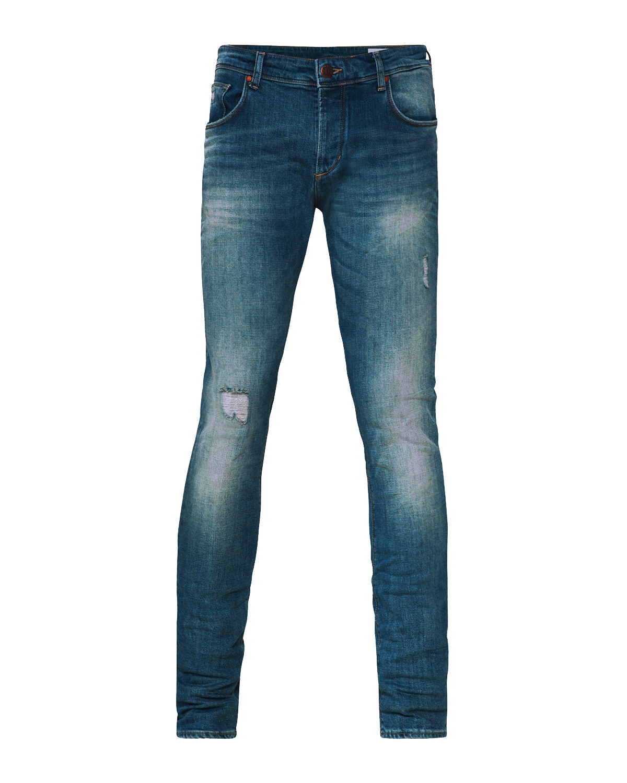 Heren slim tapered stretch damaged jeans