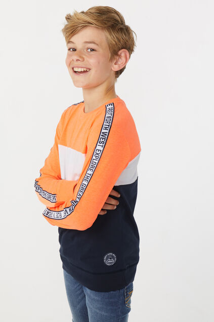 Jongens colorblock T-shirt Feloranje