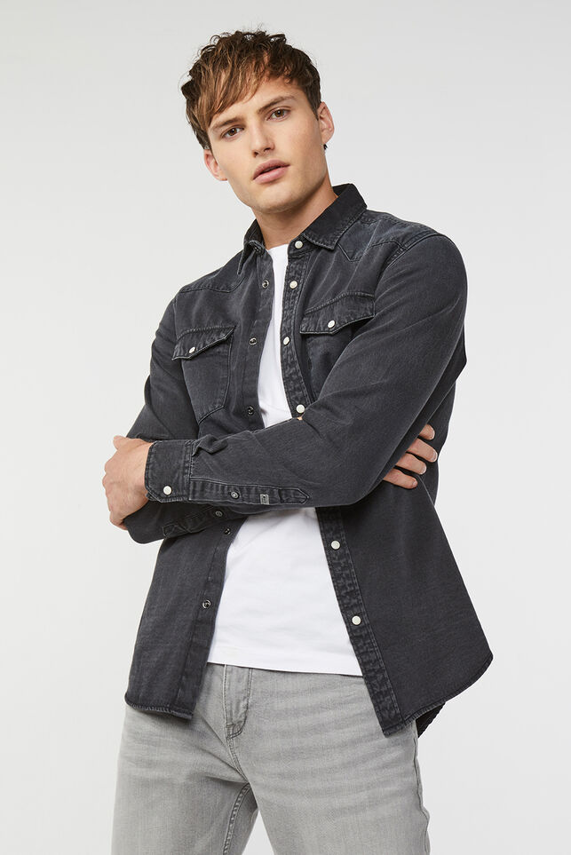 Heren denim overhemd Zwart