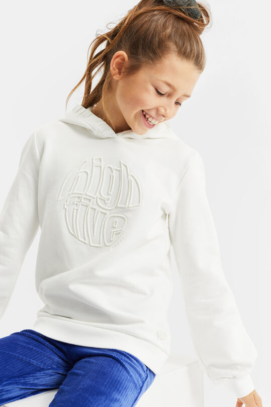 Meisjes capuchonsweater met embroidery Wit