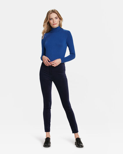 DAMES HIGH RISE SUPER SKINNY HIGH STRETCH VELVET JEANS Donkerblauw