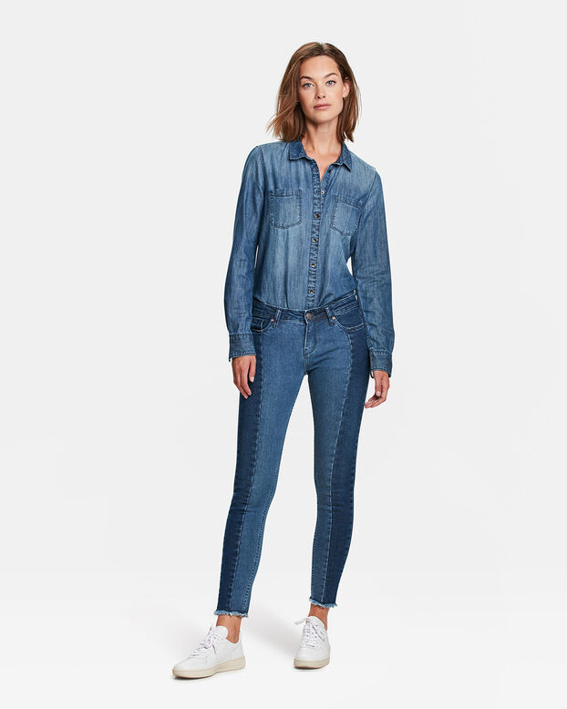 DAMES MID RISE SKINNY CONTRAST PANEL JEANS Blauw