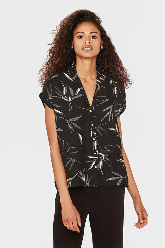 DAMES BUTTON DOWN PRINT BLOUSE Zwart