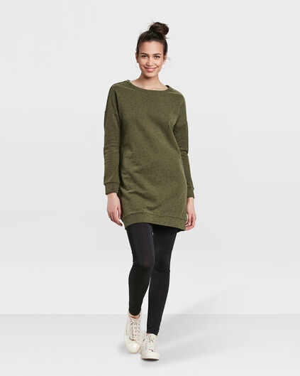 DAMES DOT PRINT SWEAT JURK Legergroen