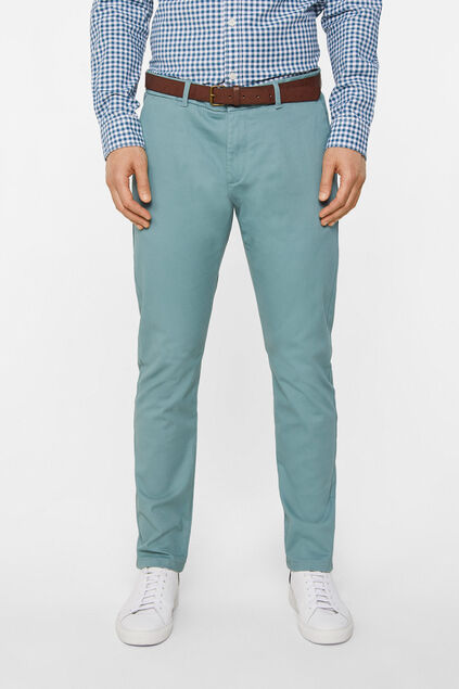Heren slim tapered effen chino Grijsgroen