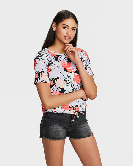 DAMES BLOEMENPRINT STRIK DETAIL TOP Zwart