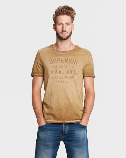 HEREN VINTAGE WASH T-SHIRT Goud