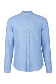 Heren slim fit linnen overhemd_Heren slim fit linnen overhemd, Blauw