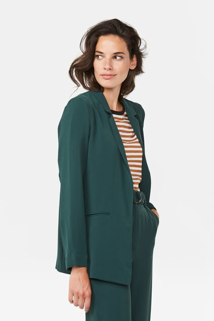 Dames regular fit blazer Donkergroen