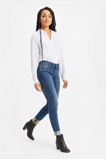 Dames mid rise skinny jeans met comofort stretch Blauw