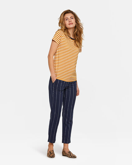 Dames Slim Fit gestreepte chino Marineblauw