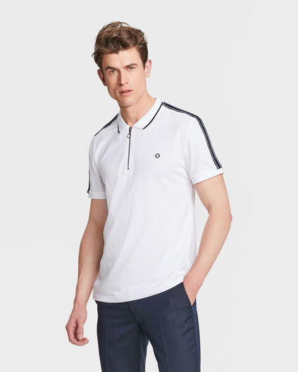 HEREN SPORTY STRIPE POLOSHIRT Wit
