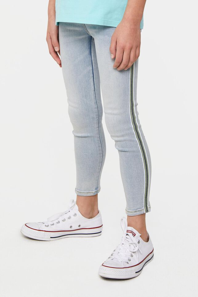 Meisjes super skinny fit cropped jegging met tapedetail Lichtblauw