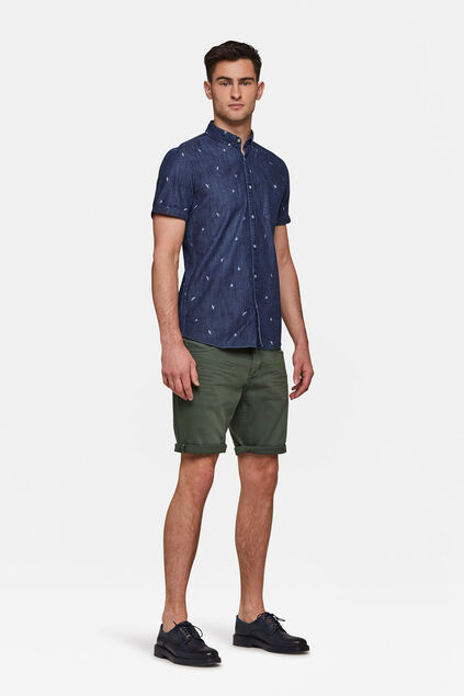Heren regular fit denim short Legergroen