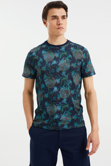 Heren slim fit T-shirt met dessin Donkerblauw