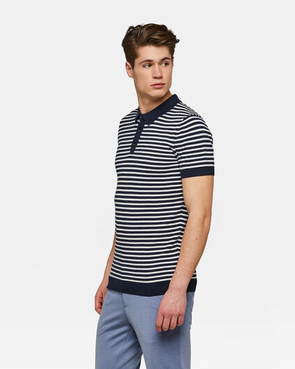Heren gestreepte knitted polo Marineblauw