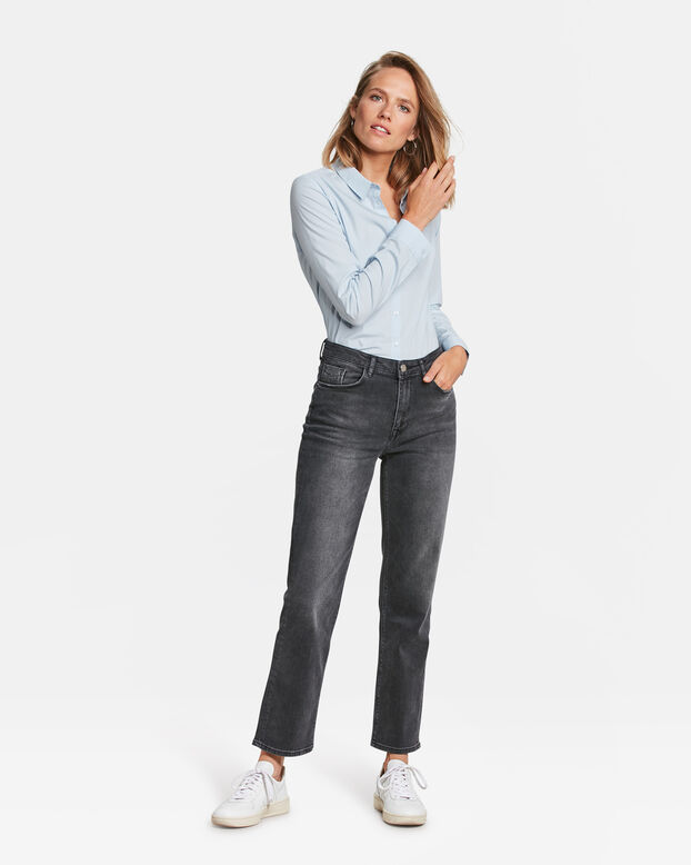 DAMES HIGH RISE STRAIGHT COMFORT STRETCH JEANS Zwart