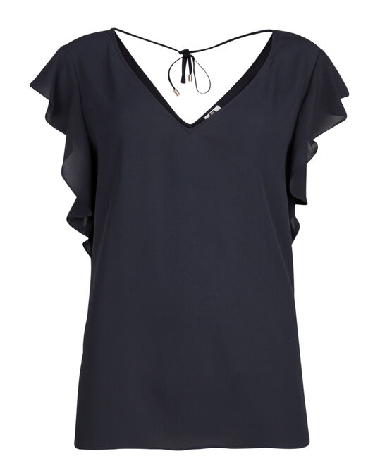 DAMES RUFFLE DETAIL TOP Donkerblauw