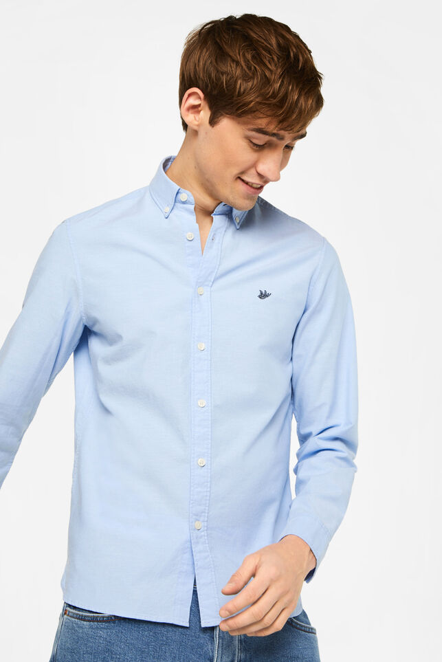 Heren Slim fit Oxford overhemd Blauw