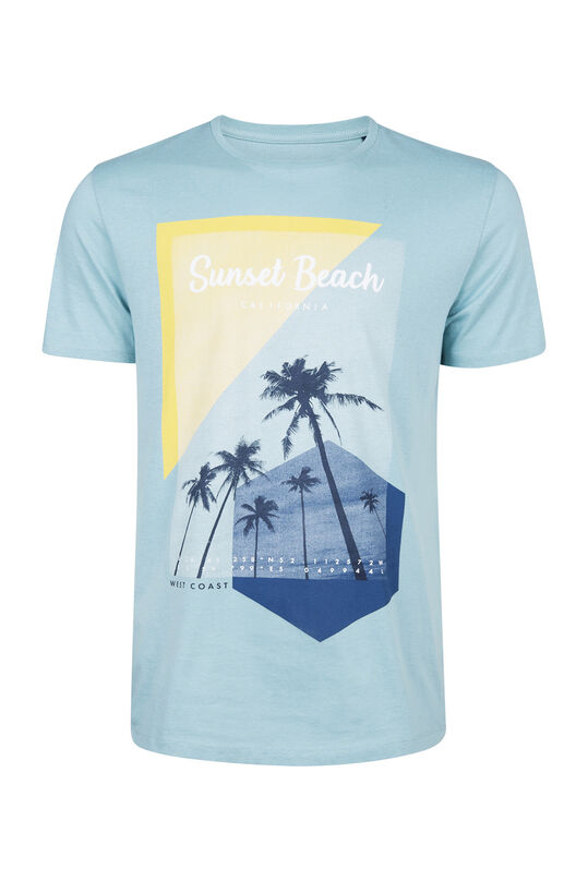 Heren sunset beach print T-shirt Lichtblauw