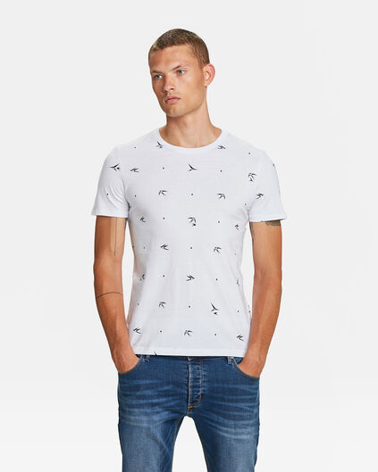 HEREN ZWALUW PRINT T-SHIRT Wit