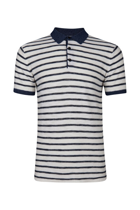 Heren gestreepte knit polo Wit
