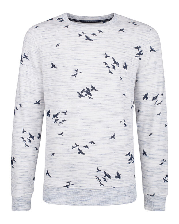 HEREN MELANGE BIRD PRINT SWEATER Wit