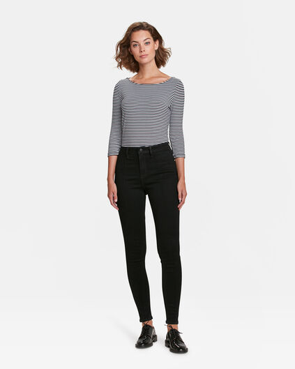 DAMES HIGH RISE SUPER SKINNY PINTUCK JEANS Zwart