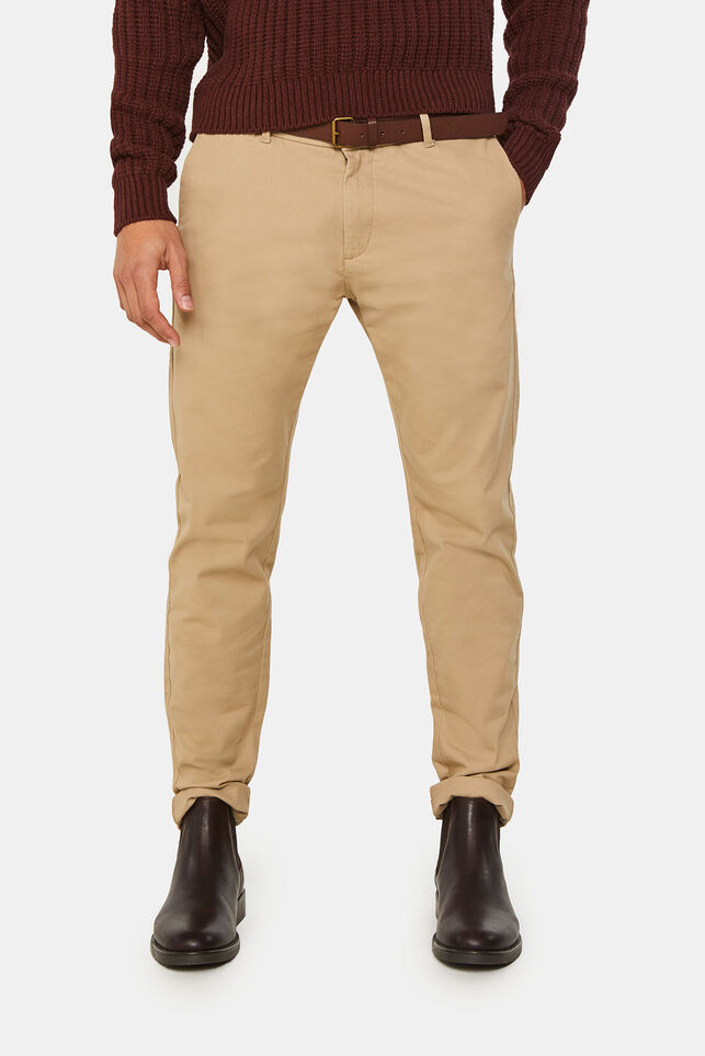 Heren skinny fit effen chino Beige
