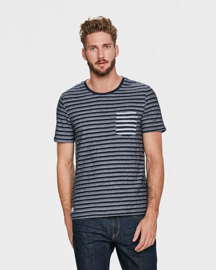 HEREN JAQUARD STRIPE T-SHIRT Marineblauw