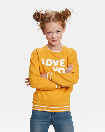 MEISJES LOVE YOU SWEATER Mosterdgeel