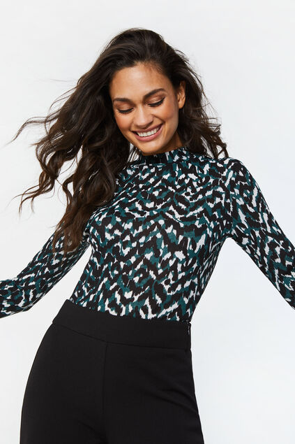 Dames semi-transparante top met dessin All-over print