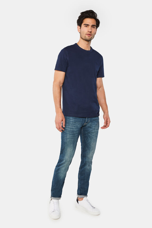 Heren skinny fit tapered jeans met greencast wassing Donkerblauw