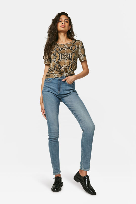 Dames high rise skinny jeans Lichtblauw